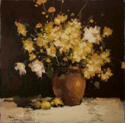 Picturi cu flori Vas de lut cu flori de camp2