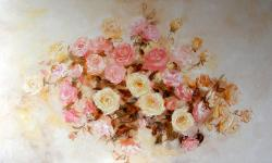 Picturi cu flori Trandafiri roz si galbeni