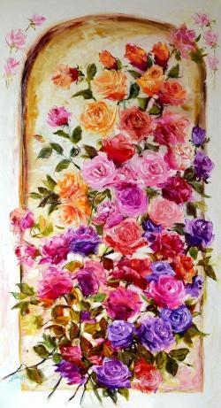 Picturi cu flori Un trandafir la fereastra mea