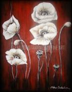 Picturi cu flori Maci albi