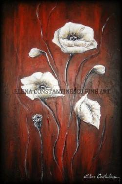Picturi cu flori Maci Albi 3