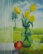 Picturi cu flori Fereastra