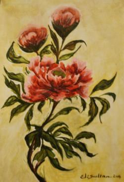 Picturi cu flori Bujori in lumina