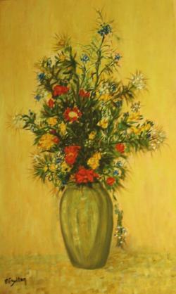 Picturi cu flori Flori de camp in ceata