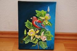 Picturi cu flori Pasare pe crenguta cu flori