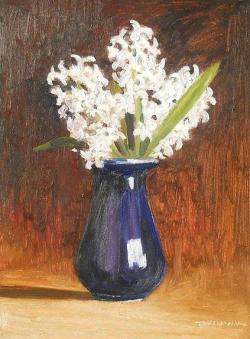 Picturi cu flori albe zambile in vas albastru