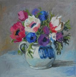 Picturi cu flori anemone in ulcica