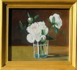 Picturi cu flori bujori albi in pahar 5