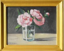 Picturi cu flori bujori in pahar 2