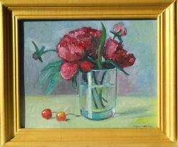 Picturi cu flori bujori in pahar 3