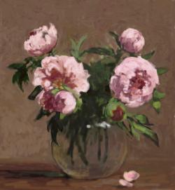 Picturi cu flori bujori in vas de sticla 4.