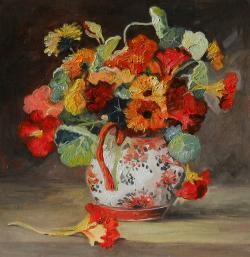 Picturi cu flori condurasi si galbinele in vas 12