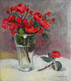Picturi cu flori crenguta de trandafir in pahar .1