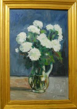 Picturi cu flori crizanteme albe in vas de sticla 3