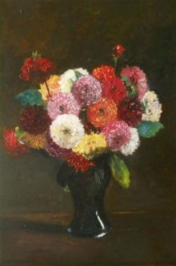 Picturi cu flori dalii in vaza de sticla