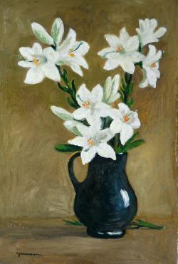 Picturi cu flori flori de crin alb in vas