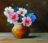 Picturi cu flori Flori de ibicus in vas
