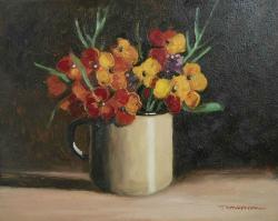 Picturi cu flori flori de micsunele in cana
