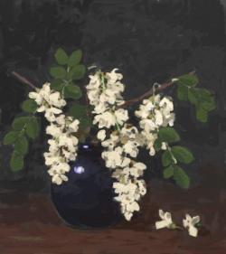 Picturi cu flori flori de salcam in vas albastru 3.