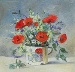 Picturi cu flori Flori din lanul de grâu