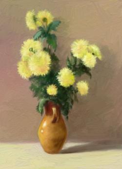 Picturi cu flori flori in vas de lut