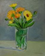Picturi cu flori Galbanele in pahar