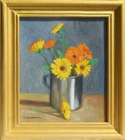 Picturi cu flori galbenele in cana de inox