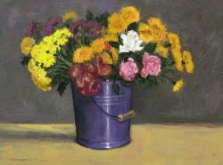 Picturi cu flori galeata cu flori de toamna