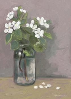 Picturi cu flori crenguta inflorita de par in borcan