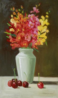 Picturi cu flori gura leului si cirese