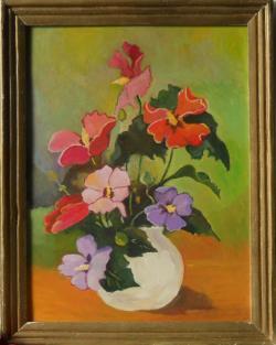 Picturi cu flori ibicus in vas alb