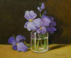 Picturi cu flori irisi in borcan