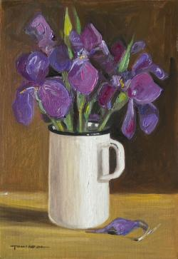 Picturi cu flori irisi in cana alba