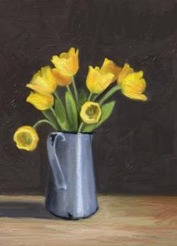 Picturi cu flori lalele galbene in cana veche