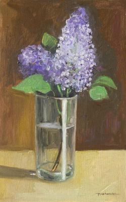 Picturi cu flori liliac in pahar