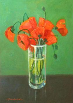 Picturi cu flori maci de camp in pahar