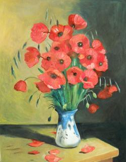 Picturi cu flori maci de camp in vas pictat