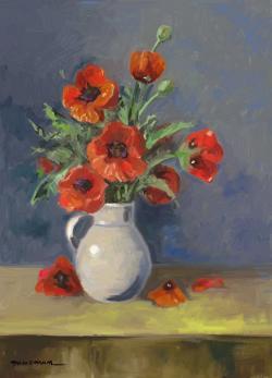Picturi cu flori maci de gradina in vas alb