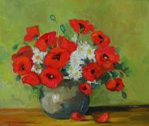Picturi cu flori Maci si margarete