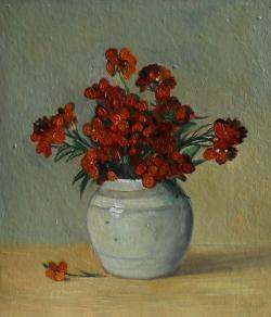 Picturi cu flori micsunele in vas de portelan