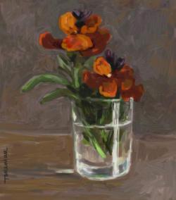 Picturi cu flori micsunele ruginii in pahar. 14.