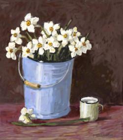 Picturi cu flori narcise albe 12.