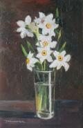 Picturi cu flori Narcise albe in pahar