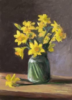 Picturi cu flori narcise in borcan