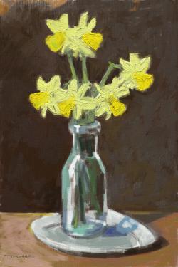 Picturi cu flori narcise in sticla 2