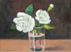 Picturi cu flori natura statica cu trandafir alb 1