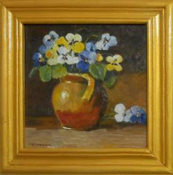 Picturi cu flori panselute salbatice in ulcica