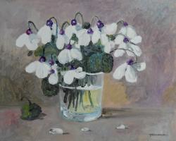 Picturi cu flori toporasi albi in pahar....1