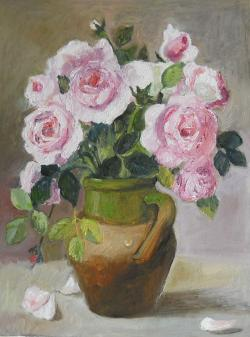 Picturi cu flori Trandafir in vas de lut 4.