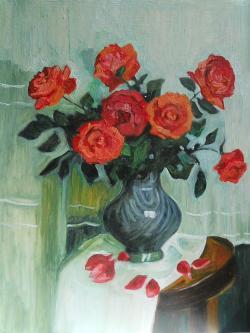 Picturi cu flori trandafiri in vaza 6